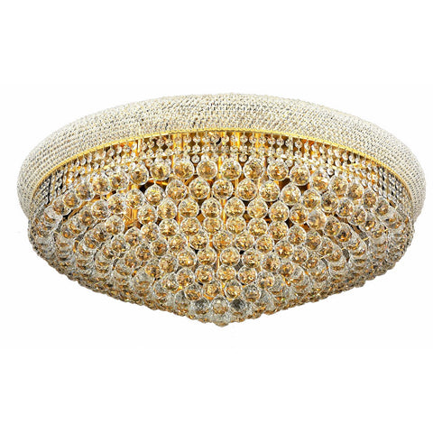 Primo 36 Crystal Flush Mount With 20 Lights - Gold Finish And Spectra Swarovski Crystal Flush Mount