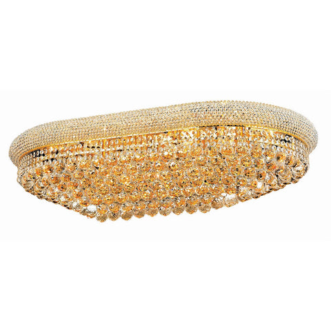 Primo 40 Crystal Flush Mount With 24 Lights - Gold Finish And Royal Cut Crystal Flush Mount