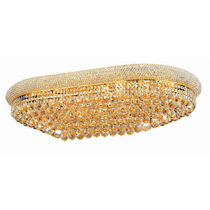 Primo 40 Crystal Flush Mount With 24 Lights - Gold Finish And Elegant Cut Crystal Flush Mount