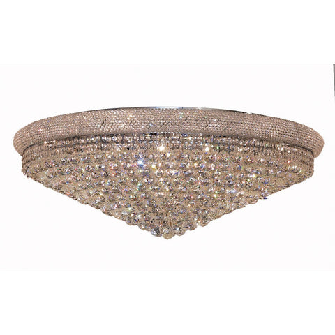Primo 42 Crystal Flush Mount With 30 Lights - Chrome Finish And Elegant Cut Crystal Flush Mount