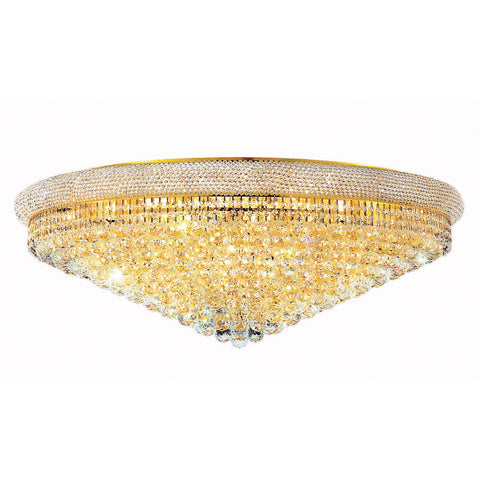 Primo 42 Crystal Flush Mount With 30 Lights - Gold Finish And Elegant Cut Crystal Flush Mount