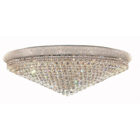 Primo 48 Crystal Flush Mount With 33 Lights - Chrome Finish And Elegant Cut Crystal Flush Mount