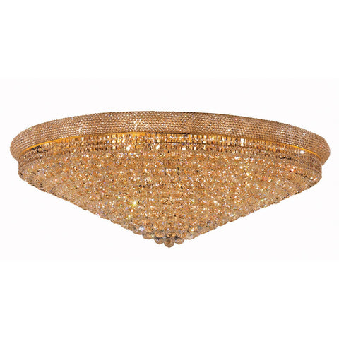 Primo 48 Crystal Flush Mount With 33 Lights - Gold Finish And Swarovski Elements Crystal Flush Mount