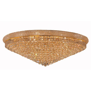 Primo 48 Crystal Flush Mount With 33 Lights - Gold Finish And Royal Cut Crystal Flush Mount