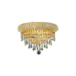 Primo 12 Crystal Wall Sconce With 2 Lights - Gold Finish And Royal Cut Crystal Wall Sconce