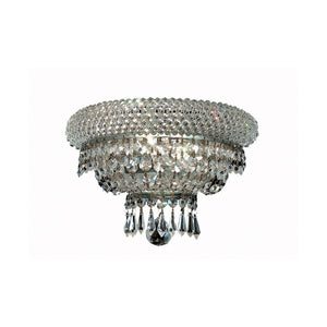 Primo 12 Crystal Wall Sconce With 2 Lights - Chrome Finish And Elegant Cut Crystal Wall Sconce