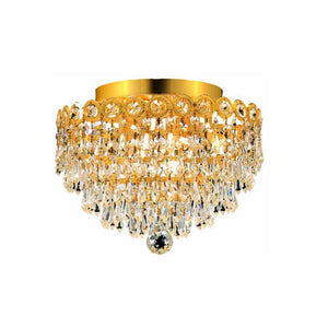 Century 12 Crystal Flush Mount 4 Lights - Gold Finish And Elegant Cut Crystal Flush Mount