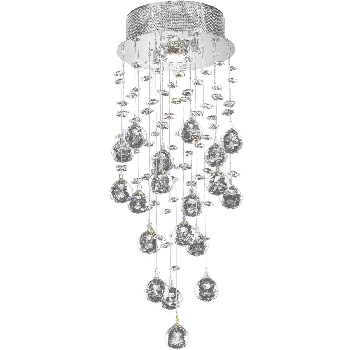 Galaxy 8 Crystal Flush Mount With 1 Lights - Chrome Finish Flush Mount