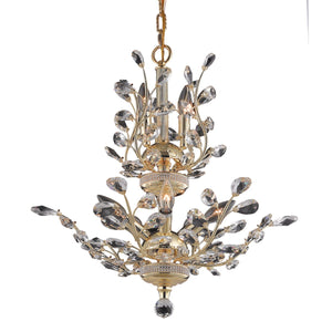 Orchid 21 Crystal Chandelier With 8 Lights - Gold Finish And Spectra Swarovski Crystal Chandelier