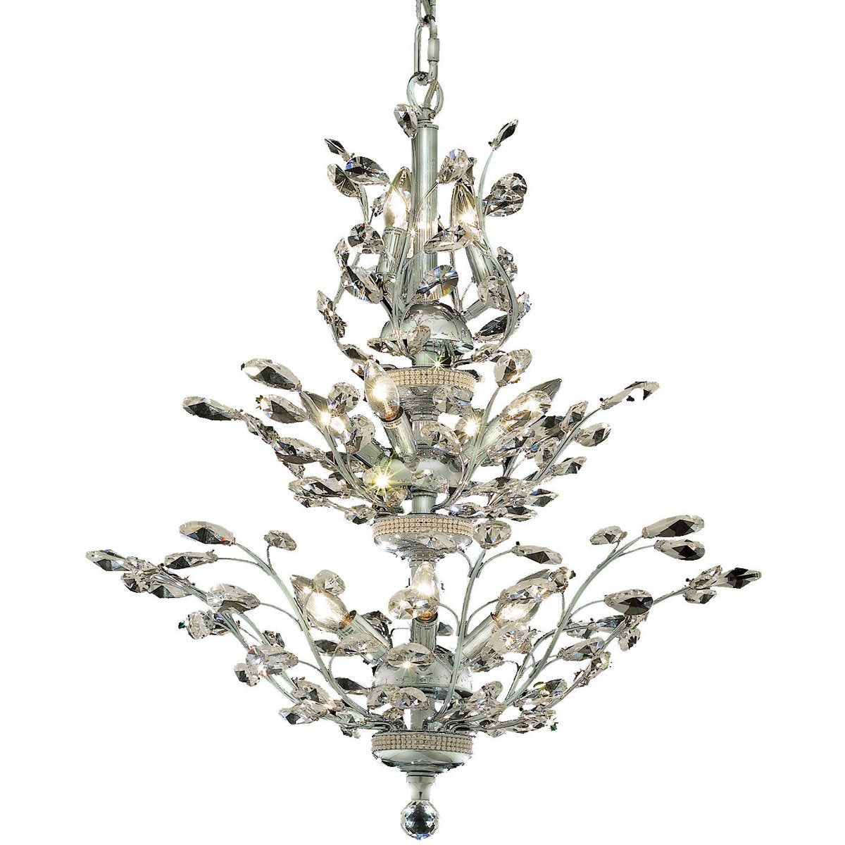 Orchid 27 Crystal Chandelier With 13 Lights - Chrome Finish And Royal Cut Crystal Chandelier
