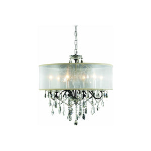 St. Francis 24 Crystal Chandelier With Silver Shade And 6 Lights - Dark Bronze Finish And Spectra Swarovski Crystal Chandelier