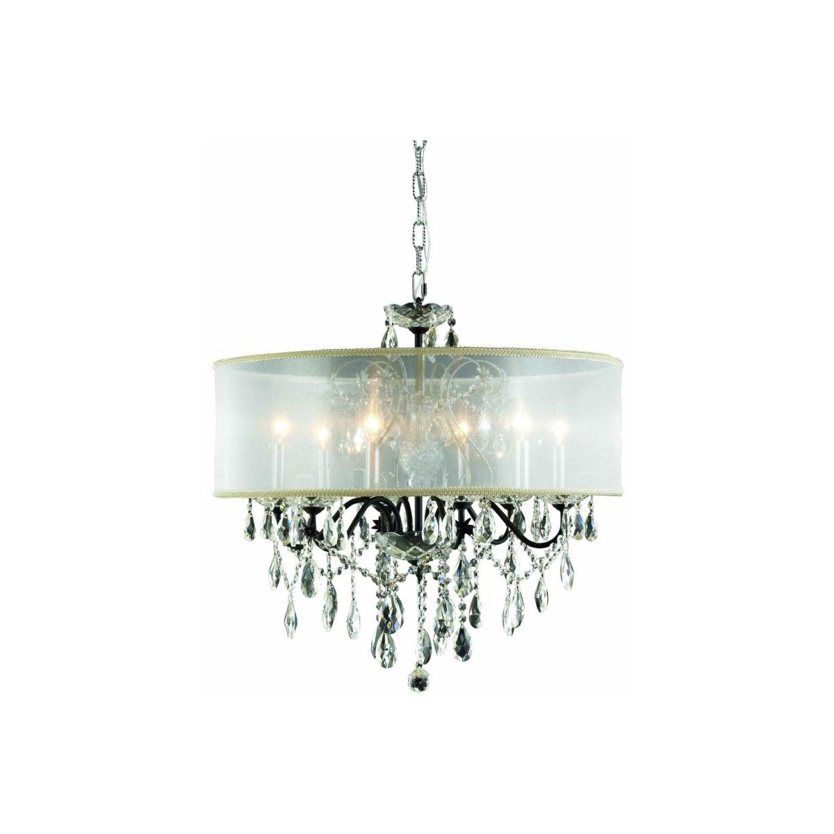 St. Francis 24 Crystal Chandelier With Silver Shade And 6 Lights - Dark Bronze Finish And Royal Cut Crystal Chandelier