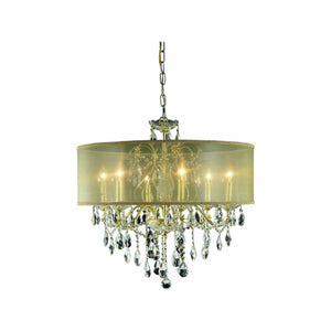 St. Francis 24 Crystal Chandelier With Silver Shade And 6 Lights - Gold Finish And Spectra Swarovski Crystal Chandelier