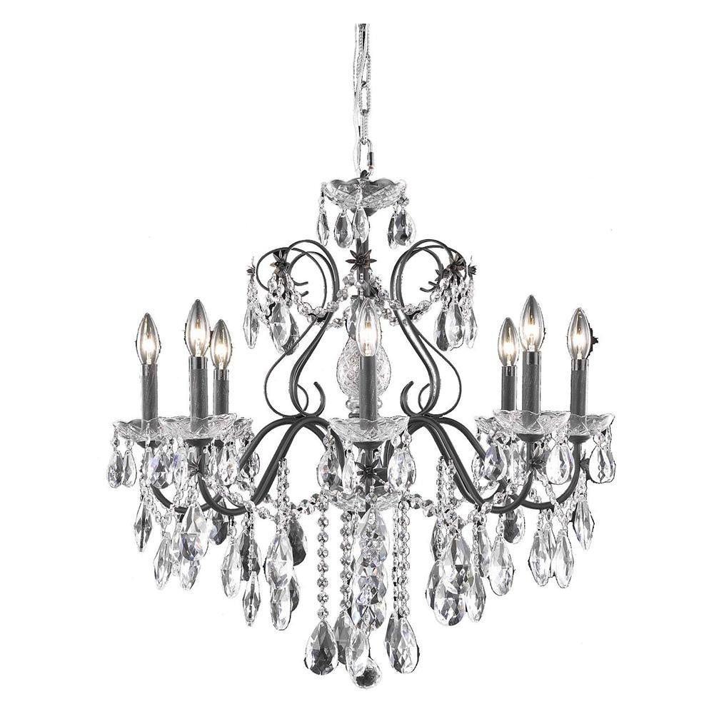 St. Francis 26 Crystal Chandelier With 8 Lights - Dark Bronze Finish And Royal Cut Crystal Chandelier