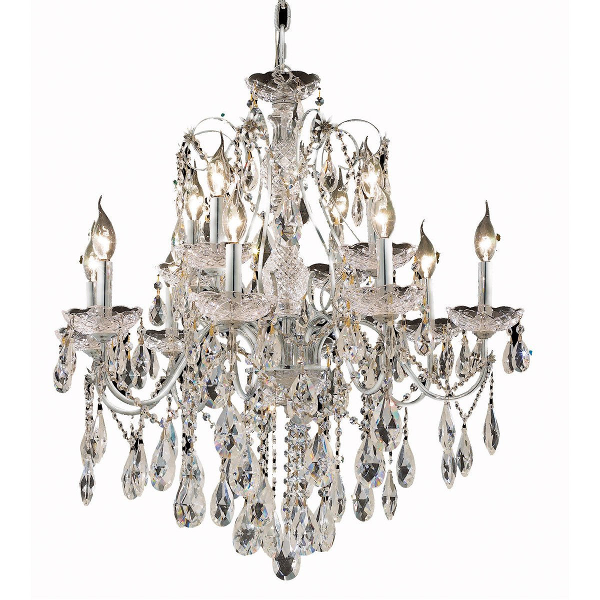 St. Francis 28 Crystal Chandelier With 12 Lights - Chrome Finish And Spectra Swarovski Crystal Chandelier