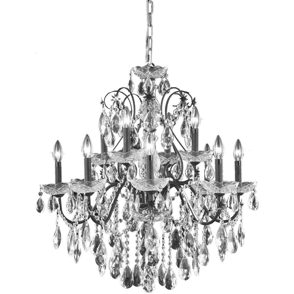 St. Francis 28 Crystal Chandelier With 12 Lights - Dark Bronze Finish And Spectra Swarovski Crystal Chandelier