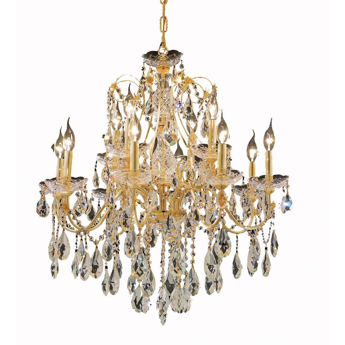St. Francis 28 Crystal Chandelier With 12 Lights - Gold Finish And Royal Cut Crystal Chandelier