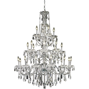 St. Francis 36 Crystal Foyer Pendant Chandelier With 24 Lights - Chrome Finish And Elegant Cut Crystal Chandelier