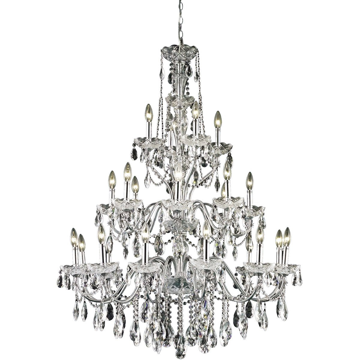 St. Francis 36 Crystal Foyer Pendant Chandelier With 24 Lights - Chrome Finish And Swarovski Elements Crystal Chandelier