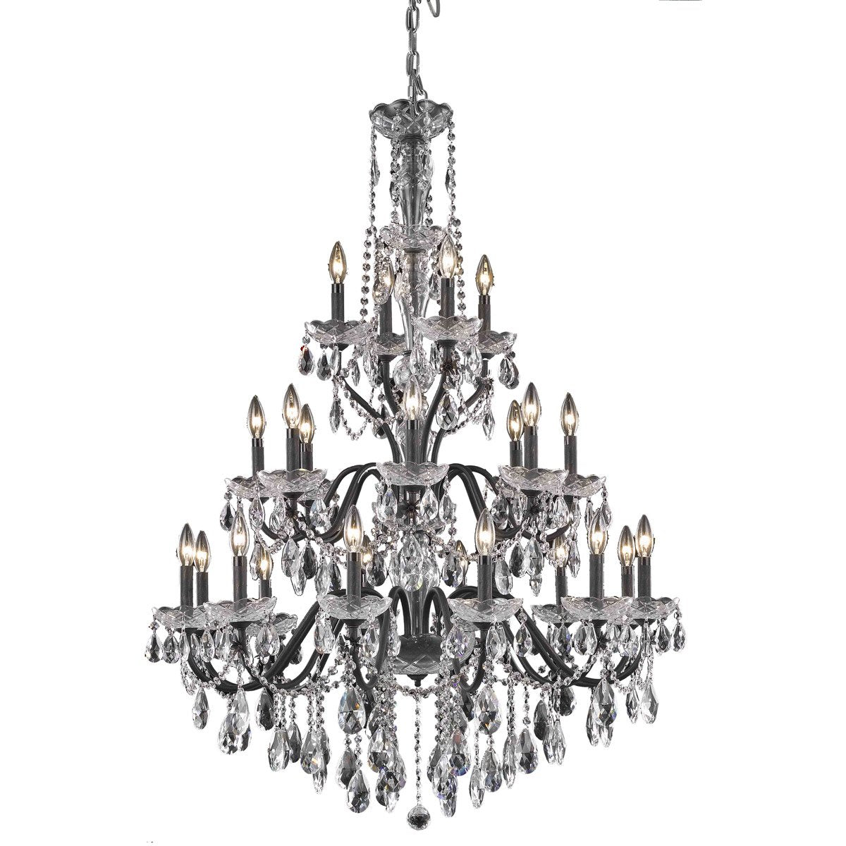 St. Francis 36 Crystal Foyer Pendant Chandelier With 24 Lights - Dark Bronze Finish And Spectra Swarovski Crystal Chandelier