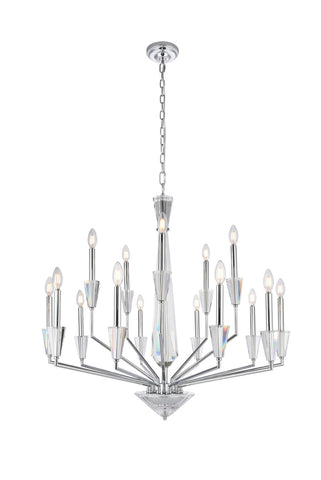 "36"" Trident Pendant lamp with 15 lights - Chrome and Clear Finish"