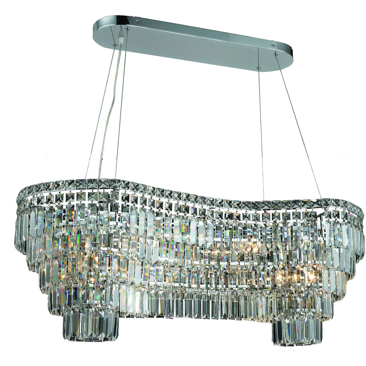 Maxime 40 Crystal Chandelier With 14 Lights - Chrome Finish And Elegant Cut Crystal Chandelier