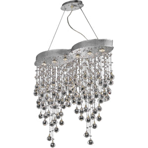 Galaxy 33 Crystal Chandelier With 6 Lights - Chrome Finish And Royal Cut Crystal Chandelier