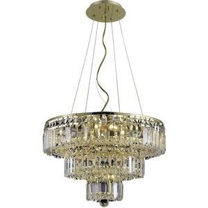 Maxime 20 Crystal Chandelier With 9 Lights - Gold Finish And Clear / Elegant Cut Crystal Chandelier