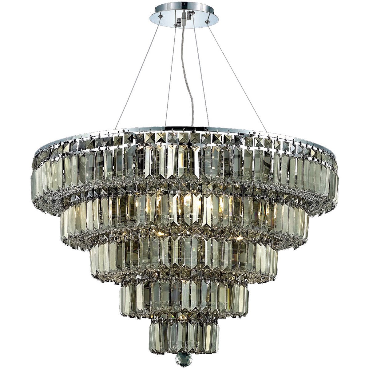 Maxime 30 Crystal Chandelier With 17 Lights - Chrome Finish And Smokey / Royal Cut Crystal Chandelier