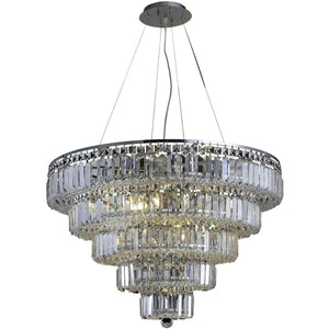 Maxime 30 Crystal Chandelier With 17 Lights - Chrome Finish And Clear / Swarovski Elements Crystal Chandelier