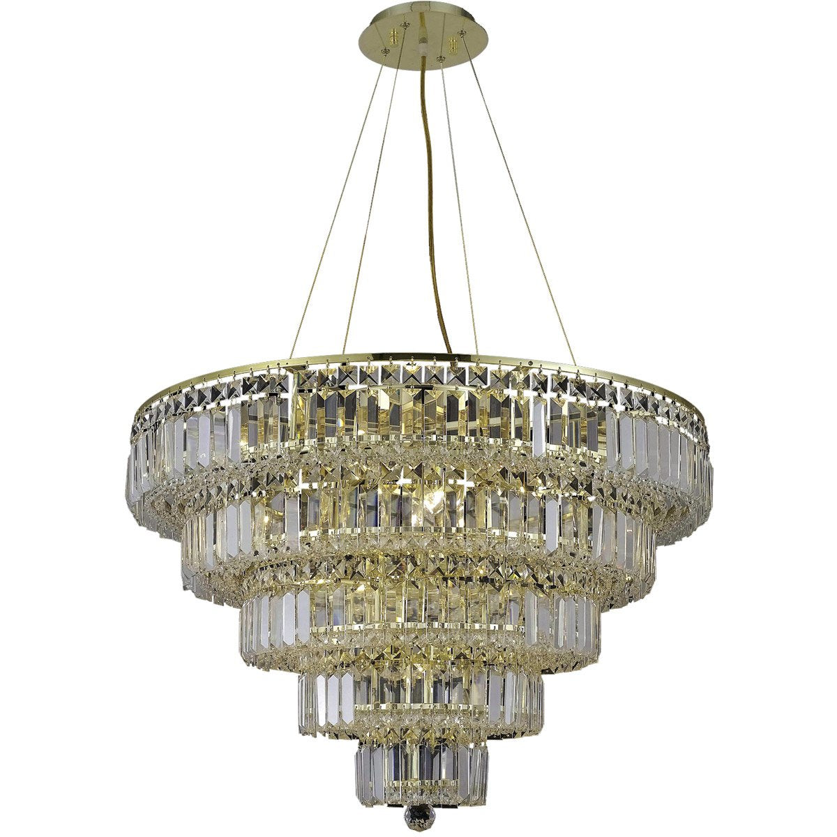 Maxime 30 Crystal Chandelier With 17 Lights - Gold Finish And Clear / Elegant Cut Crystal Chandelier