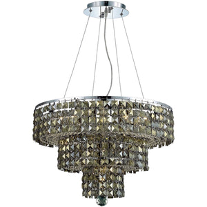 Maxime 20 Crystal Chandelier With 9 Lights - Chrome Finish And Smokey / Royal Cut Crystal Chandelier