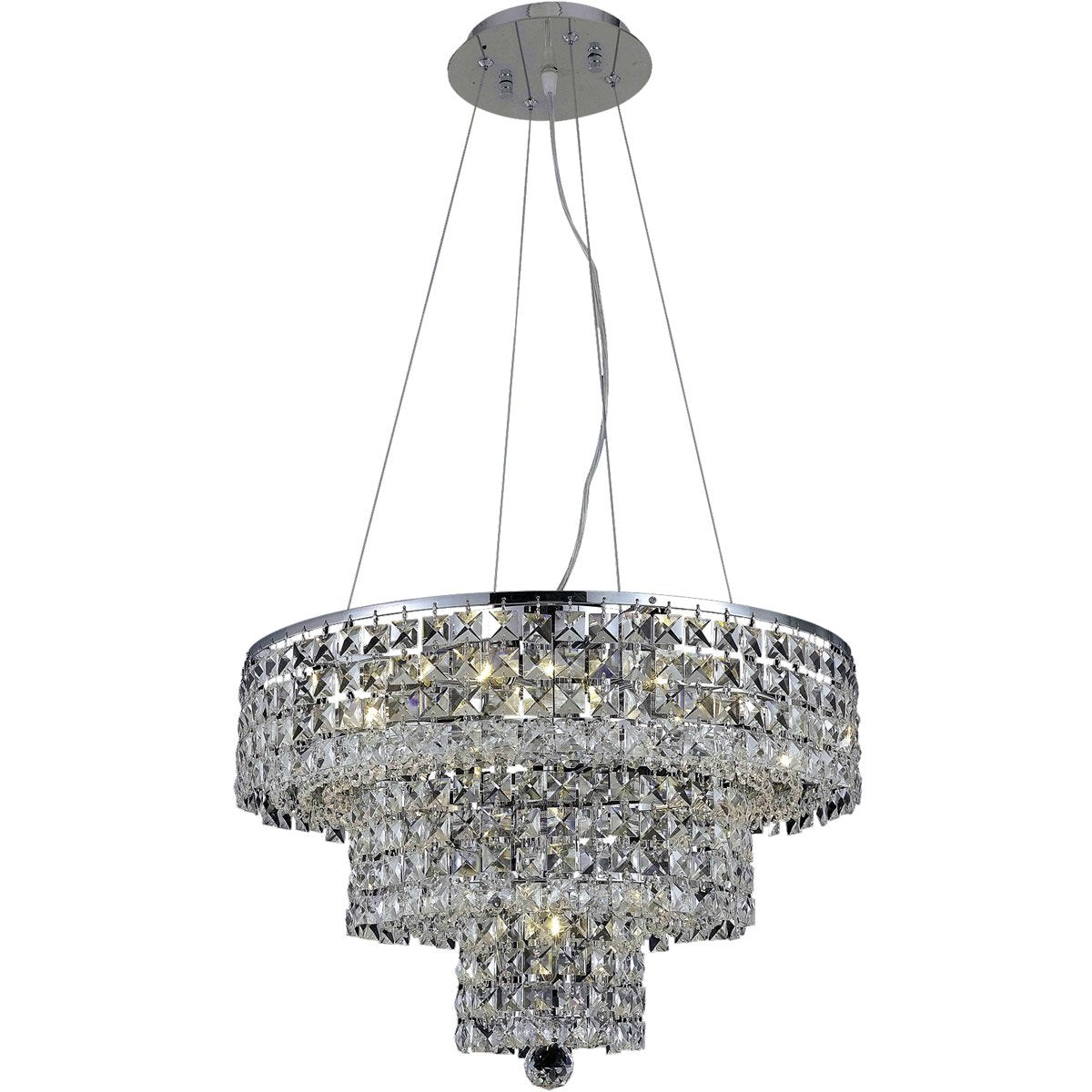 Maxime 20 Crystal Chandelier With 9 Lights - Chrome Finish And Clear / Royal Cut Crystal Chandelier