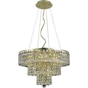Maxime 20 Crystal Chandelier With 9 Lights - Gold Finish And Clear / Swarovski Elements Crystal Chandelier