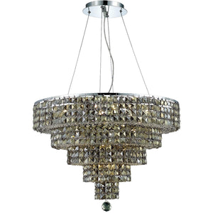 Maxime 26 Crystal Chandelier With 14 Lights - Chrome Finish And Smokey / Royal Cut Crystal Chandelier
