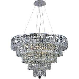 Maxime 30 Crystal Chandelier With 17 Lights - Chrome Finish And Clear / Royal Cut Crystal Chandelier