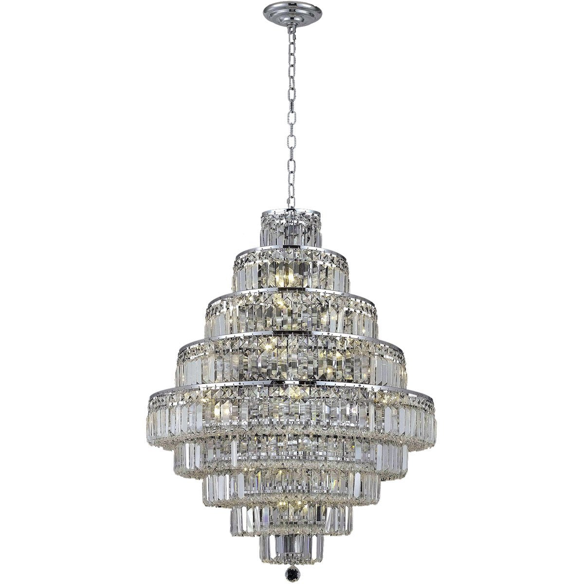 Maxime 30 Crystal Chandelier With 20 Lights - Chrome Finish And Clear / Royal Cut Crystal Chandelier