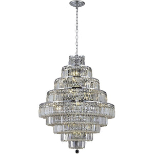 Maxime 30 Crystal Chandelier With 20 Lights - Chrome Finish And Clear / Spectra Swarovski Crystal Chandelier