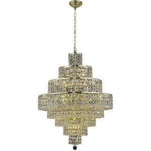 Maxime 26 Crystal Chandelier With 18 Lights - Gold Finish And Clear / Royal Cut Crystal Chandelier