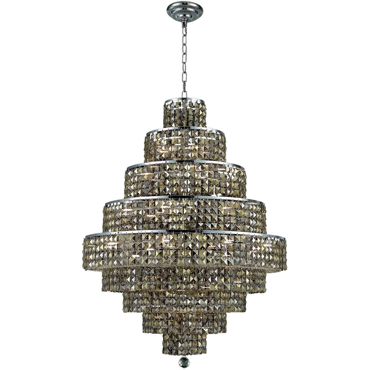 Maxime 30 Crystal Chandelier With 20 Lights - Chrome Finish And Smokey / Royal Cut Crystal Chandelier