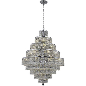 Maxime 30 Crystal Chandelier With 20 Lights - Chrome Finish And Clear / Swarovski Elements Crystal Chandelier