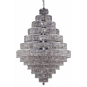 Maxime 42 Crystal Foyer Pendant Chandelier With 38 Lights - Chrome Finish And Smokey / Royal Cut Crystal Chandelier