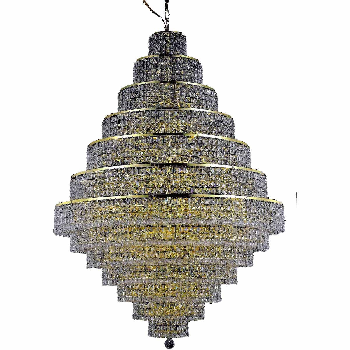 Maxime 42 Crystal Foyer Pendant Chandelier With 38 Lights - Gold Finish And Clear / Royal Cut Crystal Chandelier