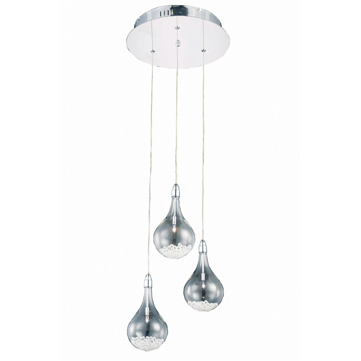 Edison 13 Crystal Mini Pendant With 3 Lights - Chrome Finish Pendant