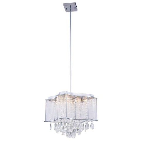 Aspen 15 Crystal Island Mini Chandelier With 8 Lights - Chrome Finish Chandelier