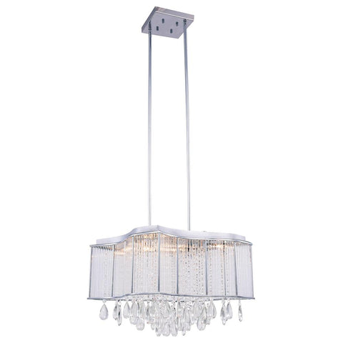 Aspen 20 Crystal Island Chandelier With 10 Lights - Chrome Finish Chandelier