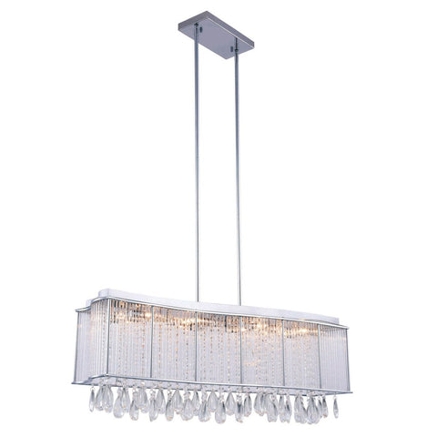 Aspen 35 Crystal Island Chandelier With 12 Lights - Chrome Finish Chandelier