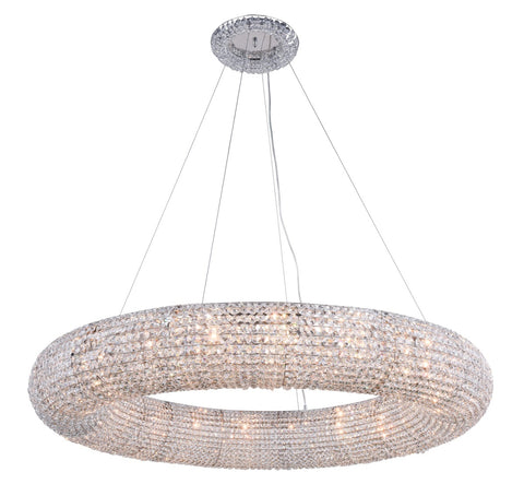 PARIS HANG Chandelier with 20 Lights Clear Royal Cut Crystal - Chrome Finish