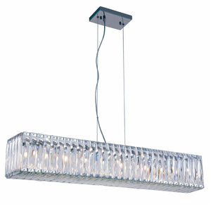 Cuvette 40 Crystal Island Chandelier With 9 Lights - Chrome Finish Chandelier