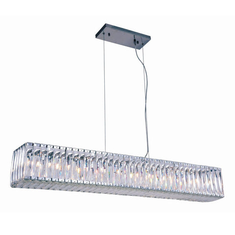 Cuvette 48 Crystal Island Chandelier With 11 Lights - Chrome Finish Chandelier